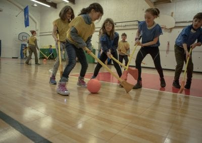 students playing broomball at The Mabin School