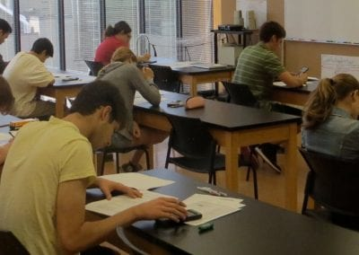 students writing exam at the Toronto Prep School