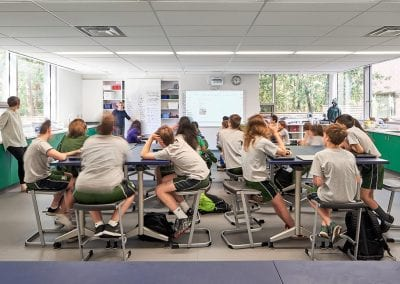 Modern classroom with students listening at Montcrest School