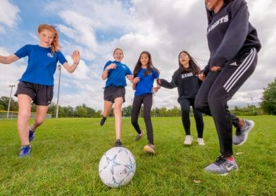 female soccer students at Newton's Grove School
