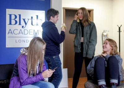 Students in the lobby at Blyth Academy London, ON
