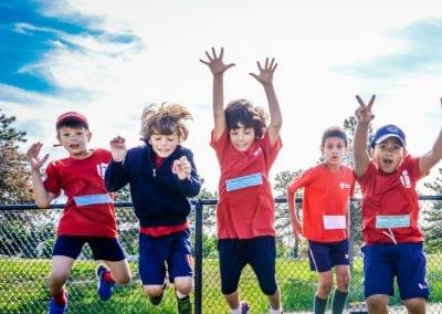 Junior boys jumping at school