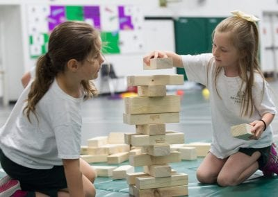 Branksome Hall junior students stacking blocks